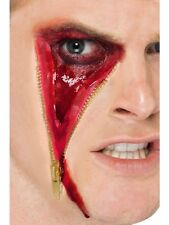 Halloween Fancy Dress Zombie Zipper Zip Face Make Up Scar & Glue New by Smiffys