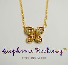 Yellow Gold Plated Sterling Silver Crystal CZ Butterfly Pendant Charm Necklace
