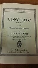 JS Bach: Concerto For Two Pianos And String Orchestra: Music Score (E2)