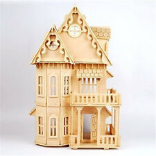 "17"" Wooden Dream Dollhouse 6 Rooms DIY Kits Miniature Doll House Great for Gift"