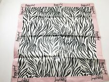 "Joseph Ribkoff Black & White Zebra Print with Pink Borders Silk Scarf 21"" NEW"