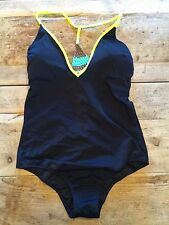 "Black/Neon~LARGE~Victoria's Secret ""BRAIDED V-BACK ONE PIECE"" One Piece VS!"