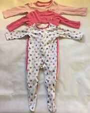 Baby Girls 9-12 Months X3 Bodysuit baby Grows Pink White Butterflies Hearts