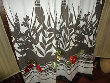 KAS AUSTRALIA BROWN GREEN RED SATIN FLORAL APPLIQUED FABRIC SHOWER CURTAIN 69X69