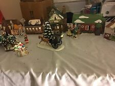 Lot Of 5 Department 56 Dickens Village Houses W/Bridge & Figures