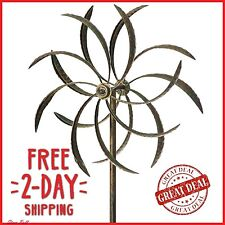Garden Wind Spinner Windmill Yard Decor Kinetic Metal Outdoor Art Sculpture NEW