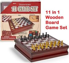 Wooden Board Game Set 11-in-1 Chess Checkers Backgammon Classic Family Games NEW