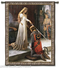 """Large Medieval Knight & Lady 52""""x 71"""" Wall Art Tapestry + FREE  ROD  Accolade"""