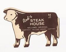 HTF Vintage Rod's Steak House Breakfast Menu Williams, Arizona VGVC