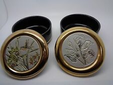 PAIR Vintage Japanese 24K Gold Edged Trinket Pot The Art of Chokin (ref46.2)