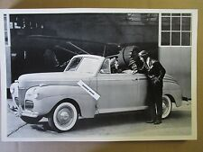 "12 By 18"" Black & White PICTURE 1941 FORD Convertible side view with plane"