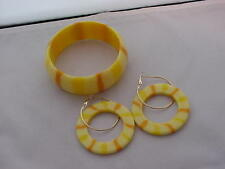 Rare Vintage  Lucite Bangle Bracelet Matching Hoop Earrings Yellow Orange 1960's