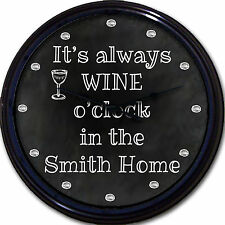 Wine o'clock Chalkboard Wall Clock Custom Personalized Wine Glass New 10""