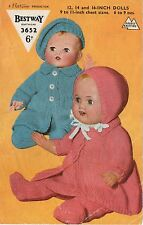 "KNITTING PATTERN VINTAGE DOLLS CLOTHES PRAM SUIT 12"" 14"" 16"" Double Knit"