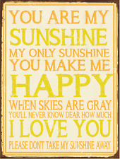 You are My Sunshine Metal Sign, Love, Children's Room Decor, Nursery Decor