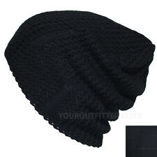 Vintage Fashion Beanie Crochet Knit Baggy Slouch Hat Cap Men's Women's Black New