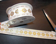 30mm white gold  jacquard embroidered ribbon applique motif trimming decor