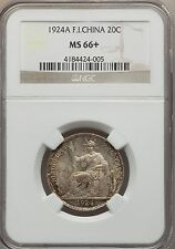 1924 A French Indo-China 20 Cents NGC MS 66+ Key Date Sole Finest @ NGC Vietnam