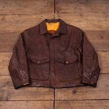 "Men's Royal Eagle Vintage Quilt Lined Leather Bomber Jacket Brown L 44"" R4101"