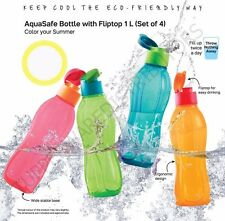 Tupperware  FlipTop Water Bottle -1 Litre (Set of 4) Eco Sports Bottle Aquasafe