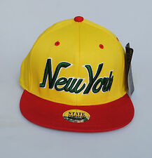 BNWT State Property New York Script Two Tone Snapback Hat Cap Yellow/ Red