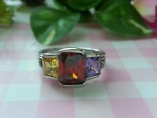 Beautiful Real Sterling Silver 925 Ring Multicolor CZ Marcasites Size 6 NEW A80