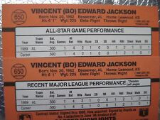 BO JACKSON 1990 DONRUSS ERRORS #650 Most Recent Game & All-Star Major Variations