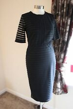 size 10 black embossed striped lined dress marks and spencer brand new