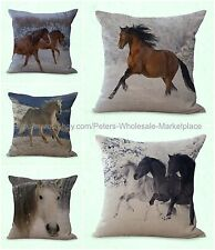 set of 5 equine equestrian cushion cover horse animal sofa pillows covers