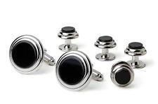 NEW Mens Black Silver Genuine Onyx Classic Round CuffLinks & Studs Trim Gift Set