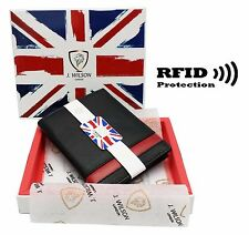 RFID SAFE Blocking Real Leather Designer Mens Wallet Compact Contactless Card