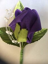 Wedding Flowers 6 x Gorgeous Single Rose Buttonholes With Pearls