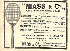 PARIS MASS RAQUETTES TENNIS PUBLICITE 1912