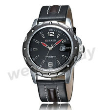 NEW CURREN Luxury Leather Strap Date Black Dial Men's Quartz Wristwatches Gifts