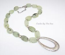 Silpada Green Prehnite Chunky .925 Sterling Silver Pendant Bead Necklace N1806