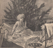 VICTORIAN GIRL WITH DOLL & PRETTY CHRISTMAS TREE ANTIQUE ART PRINT 1882