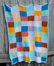 Vintage Retro Handmade Granny Knit Patchwork Squares Throw  Baby Blanket #2