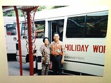 Vintage 80s Photo Hong Kong Asian Vacation Couple Posing With Coaster Tour Bus