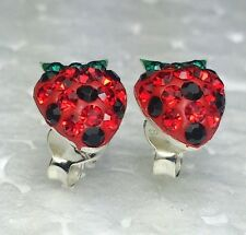 Real 925 silver earring stud ferido setting Czech crystal strawberry 8*11mm