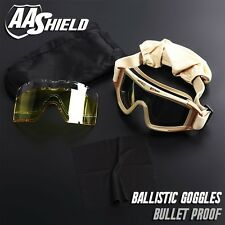 Bullet Proof Ballistic Goggles Mask Military Tactical Assault Pack 3 Lenses