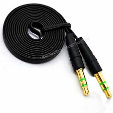 3.5mm Flat Male Stereo Audio Auxiliary AUX Cable for iPod Car Phone Black-b232