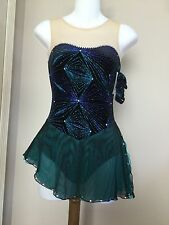 Icings New CL BLACK/TURQUOISE COMPETITION ICE ROLLER SKATING DANCE BATON DRESS