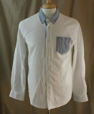 Retrofit, Medium, White/Blue Accent Button Front Shirt, New without Tags