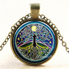 Vintage Tree of Life Cabochon Bronze Glass Chain Pendant Necklace ut4