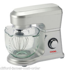 Cooks Professional Silver Stand Mixer 5L Glass Bowl 800W 6 Spd & Pulse Tilt Head