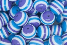 Purple and Blue Striped 20mm Chunky Acrylic Beads 10 ct for Bubblegum Necklace