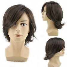 New Brown Mens Synthetic Natural Hair Short Straight Wavy Daily Costume Full Wig