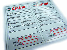 Set of 10 CASTROL Oil Change Service Reminder Stickers , PVC Gloss vinyl