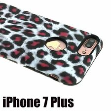 For iPhone 7+ Plus - HYBRID HARD & SOFT RUBBER ARMOR CASE COVER WHITE LEOPARD