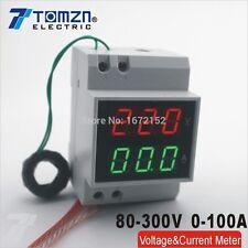 Din rail LED display Voltage current meter extra CT range AC80-300V 0.1-99.9A